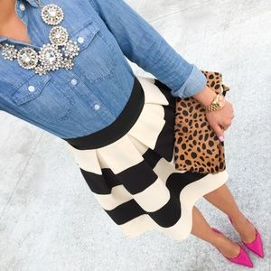 Xhiliration Striped Waffle Knit Pleated Full Skirt